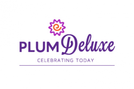 plum deluxe logo, plum deluxe, purple website logo